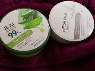 Get 2 Authentic thefaceshop gels. Fresh milk cream and jeju aloe