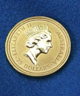 Australia - year 1990 - limited edition nugget gold coin (999)