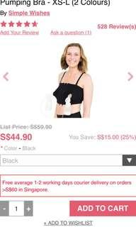 Simple Wishes Signature Hands Free Pumping Bra  (Black)