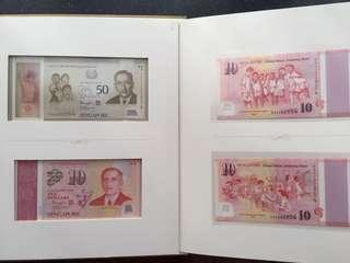 Singapore 2015 SG50 identical serial number AA Prefix note set