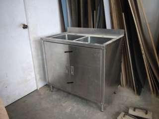 Double bowl stainless steel sink with cabinet