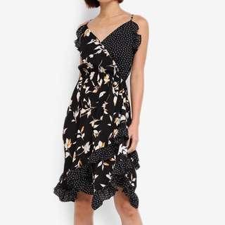 Midi Cami Floral Polkadot Wrap Dress
