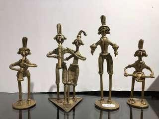 Vintage brass group of 5 musicians (To be sold as a set of 5 figures)