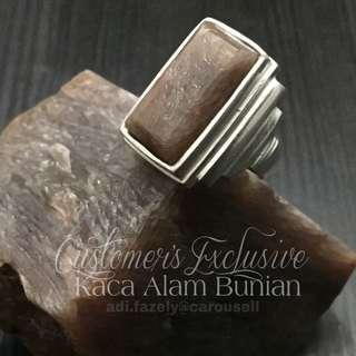 Customer's Mustika Kaca Alam Bunian Grade A, set-in 925 Silver Rectangular Ring