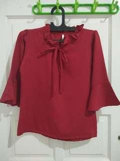 Atasan blouse red blus merah