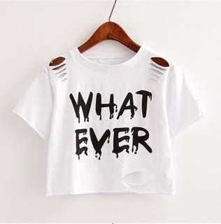 Hollow out Fashion Letter Printed T-shirt