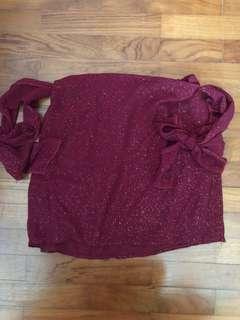 [NEW] Carrislabelle Off Shoulder Glitter Shiny Maroon Purple Red Top
