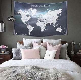 世界地圖掛布(星空藍) 個人化禮物客製