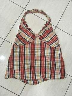 Red checkered bare back Stretchable Top
