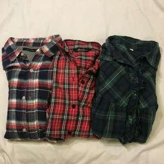 Flannel Shirt 2 Free 1 (Size L)