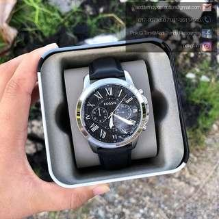 🚚 [CHEAPEST PRICE] Fossil FS4812 Grant Black Leather Watch