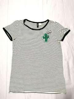 H&M stripe shirt with Cactus patch