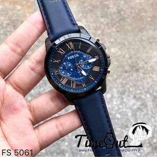 🚚 [CHEAPEST PRICE] Fossil Men's Grant Chronograph Black and Blue Dial Navy Leather Watch FS5061