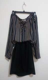 韓版 條紋氣質綁帶縮腰連身裙