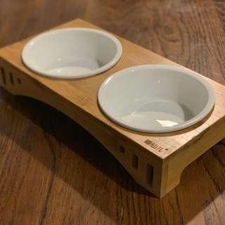 陶瓷貓碗 + 竹制貓碗架 (雙頭)