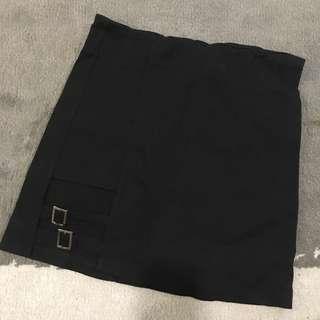 Black Cut Out Buckle Mini Skirt