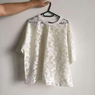 White Lace See through oversized Top