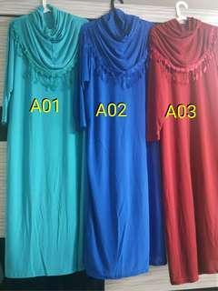 Plain Long Dress 1suit with Hijab