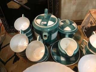 Checkered Plaid Dainty Picnic Tea Set
