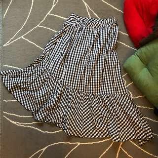 韓國黑白格仔半截裙