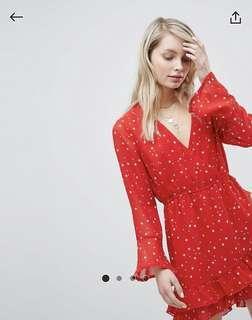 BNIB ASOS Wednesday's Girl Wrap Playsuit in Mini Star