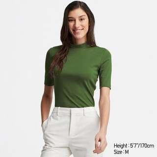 Uniqlo olive army green mock neck ribbed top