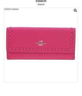 Coach pink wallet with beads