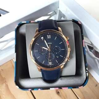 🚚 [CHEAPEST PRICE] Fossil Neutra Chronograph Navy Leather Watch FS5454