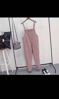 dusty pink velvet overalls