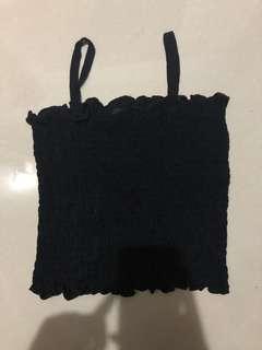 temt black ruffle basic spag top