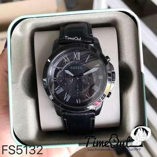 🚚 [Cheapest Price] Fossil Grant Chronograph Men's Black Leather Strap Watch FS5132