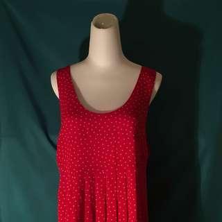 復古 紅底白點 復古花色 洋裝
