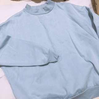 🚚 簡約藍色內刷毛必備大學T衛衣