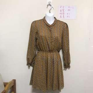 🚚 NEW 土黃色復古雪紡洋裝