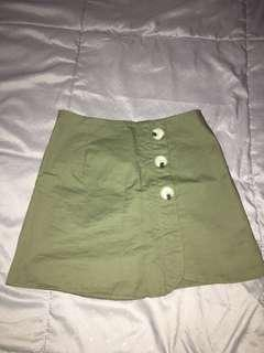 Zalora Green Button Mini Skirt