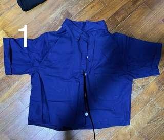 NAVY BLUE CROP TOP / KEYHOLE SPAGHETTI TOP
