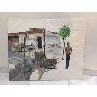 Lukisan desa kampung 120x80cm