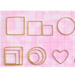 Brand new instock Resin Craft Supply- Grabbag- Miniature Minimalist Gold Square / Circle / Heart Frames