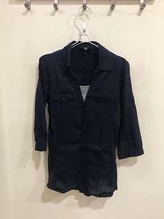 🚚 深藍色棉麻七分袖襯衫