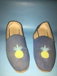 Flat shoes denim pineapple