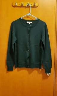 深綠色針織短外套 Dark Green Color Cardigan (100% wool)