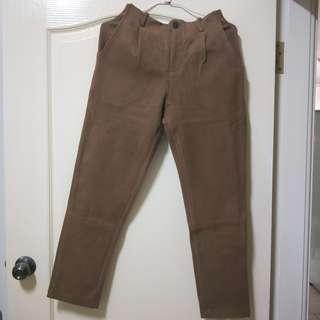 高腰駝色褲