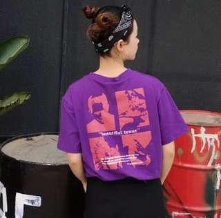 ulzzang korean purple graphic tee