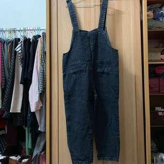 🚚 小資女孩👧微刷破感大碼連身牛仔褲#半價衣服市集