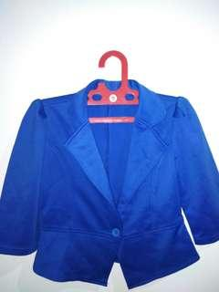 Blazer Biru. Cropped 100% good condition