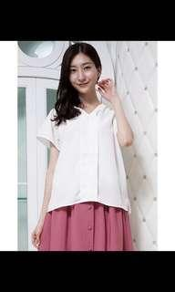 日本 寬鬆 短袖v領襯衫