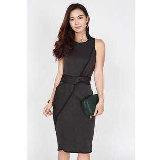 MDS Contrast Trim Twisted Knot Dress in Charcoal