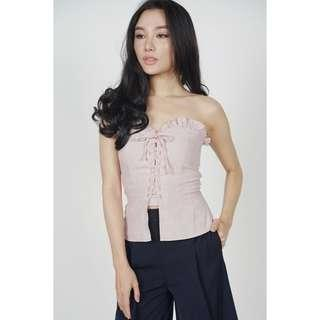 MDS Miya Lace-Up Bustier Top in Blush