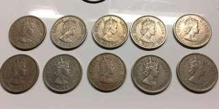Hong Kong 1960 to 70s Queen E $1 coin (10 pc)