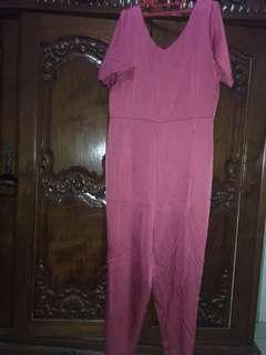 Jumpsuit Pink Big Size Plus Size